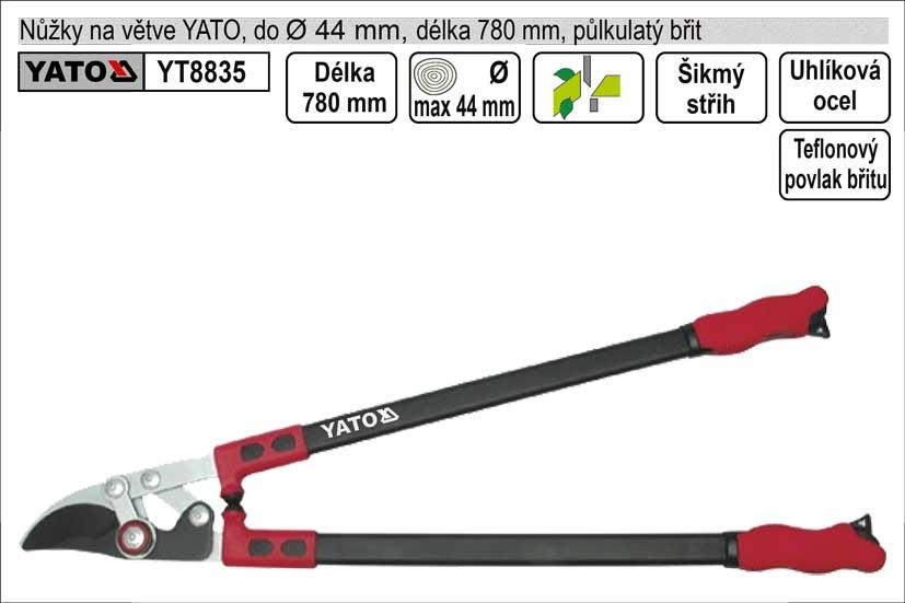 Nůžky na větve YATO 780mm půlkulatý břit převodové