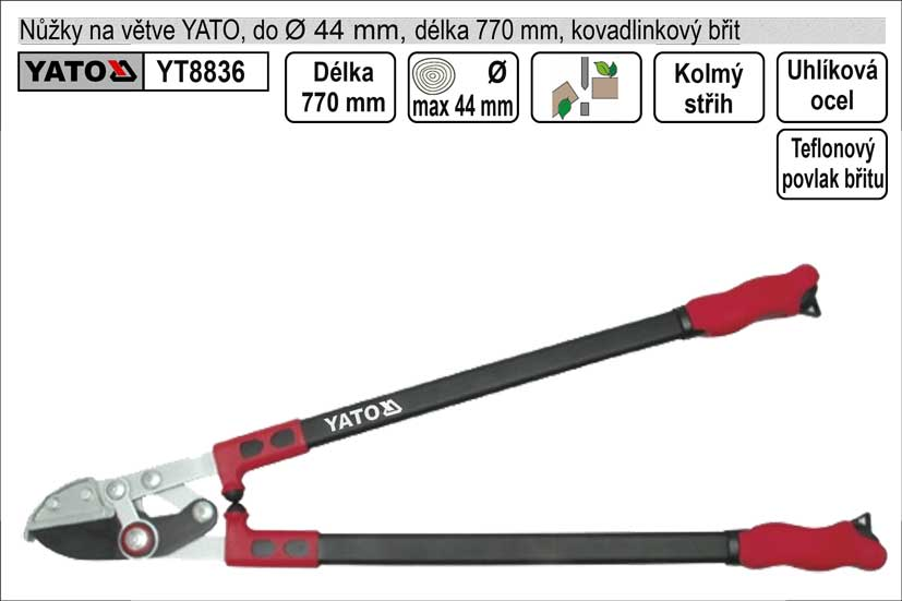 Nůžky na větve YATO 780mm kovadlinkový břit převodové