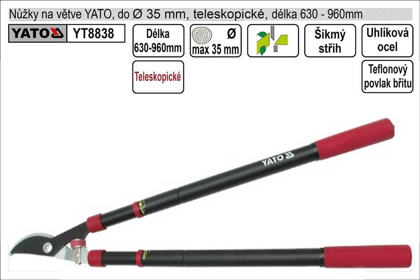 Nůžky na větve YATO 610-950mm půlkulatý břit teleskopické Nářadí 2Kg YT-8838