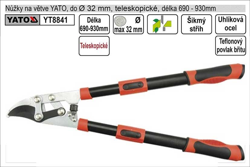 Nůžky na větve YATO 690-930mm půlkulatý břit teleskopické převodové