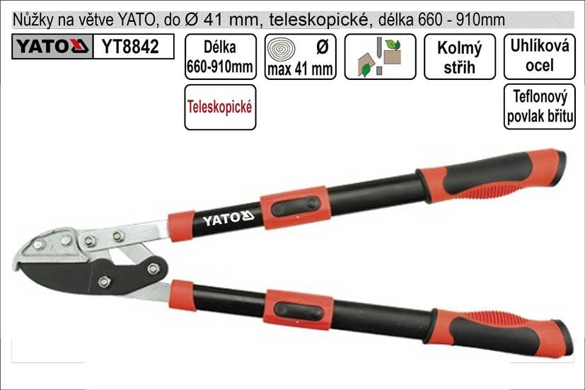 Nůžky na větve YATO 660-910mm kovadlinkový břit teleskopické převodo