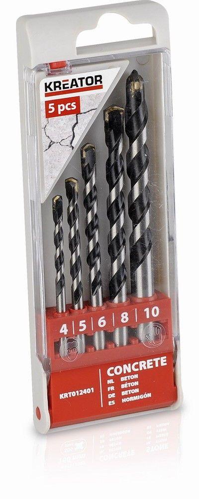 KRT012401 - 5 ks Vrtáků do betonu SET 4-5-6-8-10 mm KREATOR Nářadí 0.568Kg KRT012401