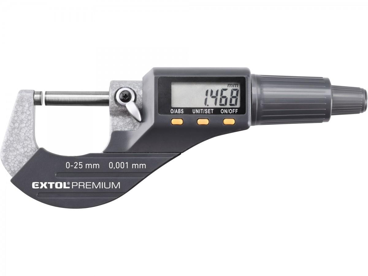 EXTOL PREMIUM Mikrometr digitální, 0-25mm