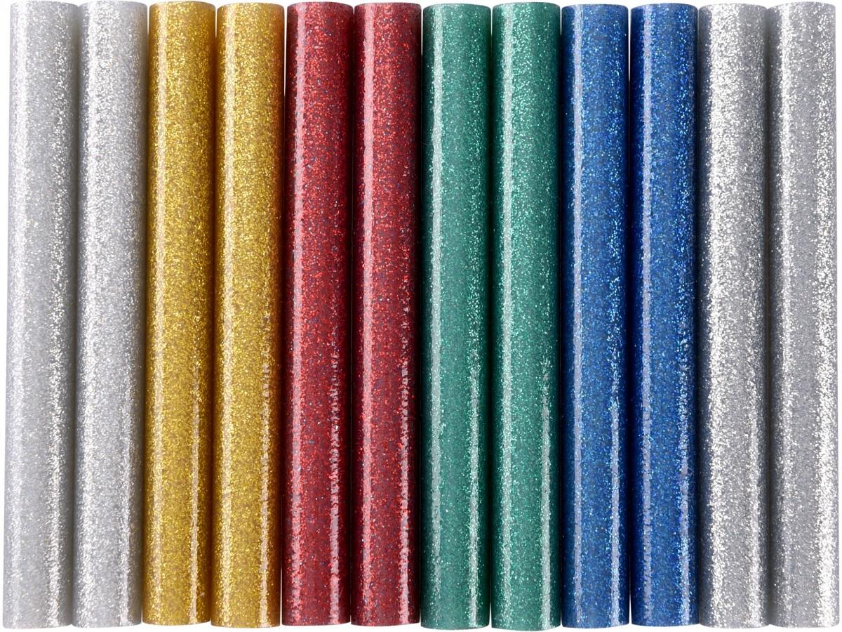 EXTOL CRAFT tyčinky tavné, mix barev se třpytem (glitter), pr.11x100mm, 12ks  9911