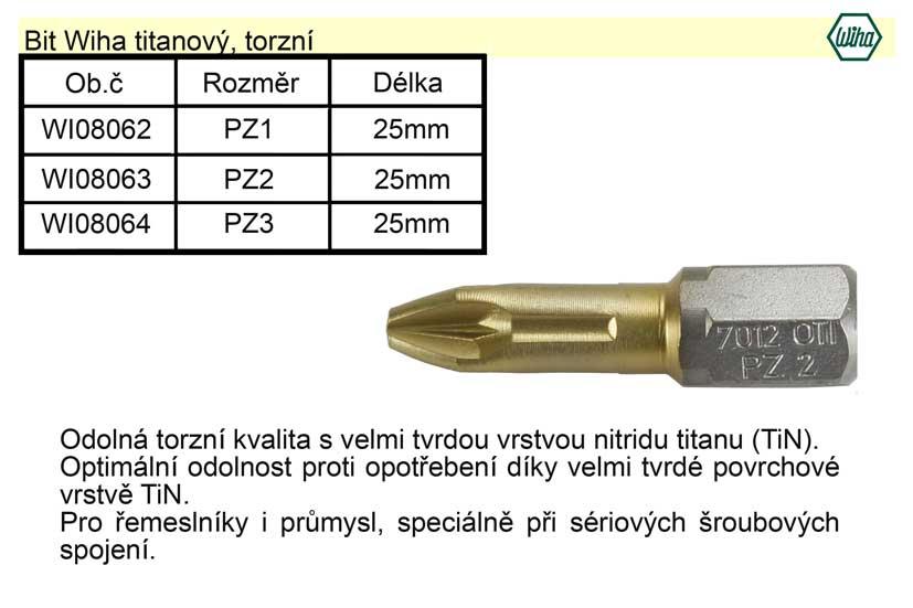 Bit Wiha titanový PZ3x25mm, torzní