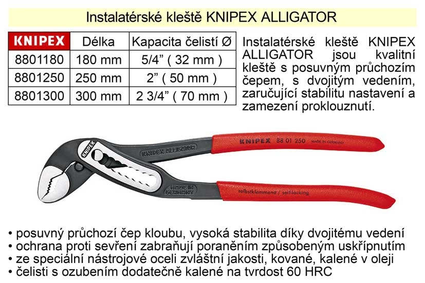 Kleště KNIPEX siko ALLIGATOR 250 mm